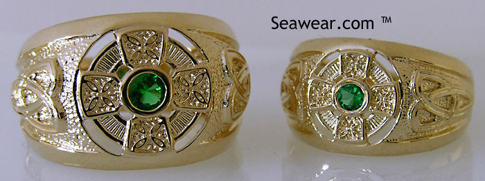 Celtic Cross trinity knot ring with green stone