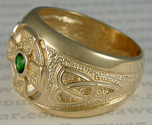 14kt Celtic cross ring and trinity knot