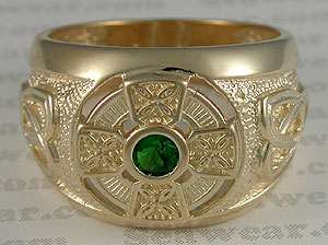 14kt Celtic Cross ring with green diamond cut stone