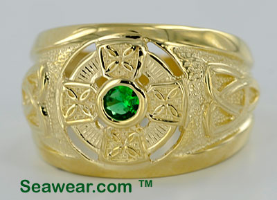 gold Celtic cross ring with green stone