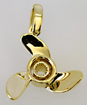 14kt gold three blade propeller charm with splined hub
