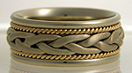 gold two tone hand woven wedding band