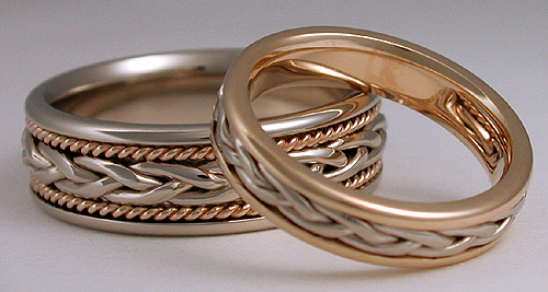 Braided And Woven Gold Platinum Wedding Bands Rings