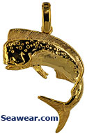 14kt dorado bull nose dolphin mahi mahi jewerly necklace