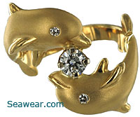 stephen douglas twin dolphin diamond ring - Dolphin Wedding Rings