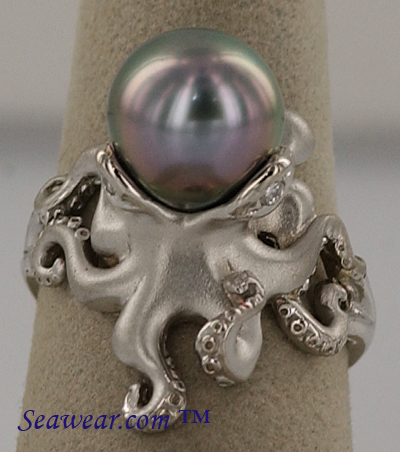 white gold octopus ring