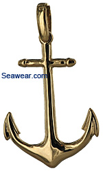 gold polished Navy Admiralty anchor necklace pendant