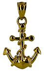 tiny fouled anchor necklace charm