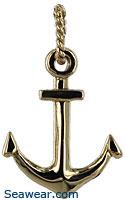 small traditional anchor necklace with twisted nautical bail