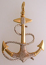 14kt salty two tone anchor pendant