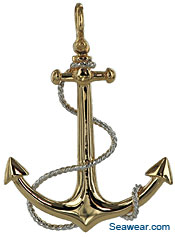 14kt 3D full round fouled anchor necklace pendant