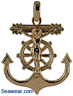 navy sailor anchor crucifix necklace pendant
