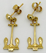 14kt ships anchor earrings