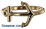 14kt gold ladies anchor ring