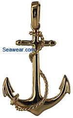 fouled Navy admiralty anchor in 14kt polished gold
