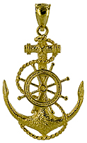 14kt gold mariners cross with ships wheel and rope