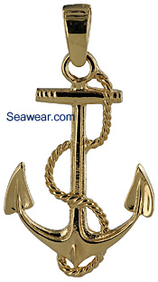 gold Navy Anchor necklace pendant