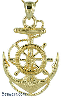 skippers anchor with ships wheel and fouled anchor jewelr pendant