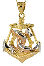 gold anchor with rose gold dolphins