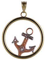 14kt tri color gold circle anchor pendant