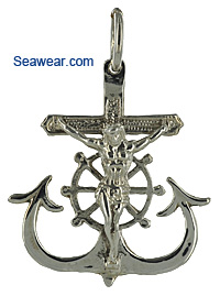 silver navy sailor anchor crucifix necklace pendant