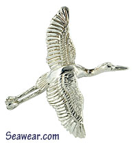 argentium silver great blue heron pendant  just taking off from marsh