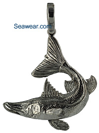 argentium silver snook fish necklace pendant jewelry