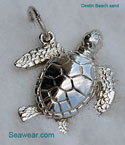 argentium silver green sea turtle necklace pendant or bracelet charm