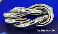 10 gauge square reef knot ring in Argentium Silver 935