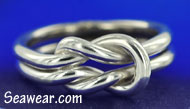 12 gauge Argentium Silver 935 square reef knot, lovers knot, sailor's love knot ring