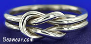 14 gauge Argentium silver square reef knot, lovers  knot, sailers love knot ring