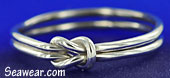 Argentium silver square reef knot, lovers knot, sailor's love knot ring