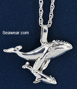 mother and baby humpback whale necklace