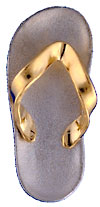 white gold flip flop with yellow toe strap