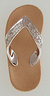 satin fihished gold flip flop beach thong with ten diamonds in the toe strap