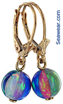 created opal beach ball earrings