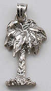 14kt white gold palm tree necklace pendant charm
