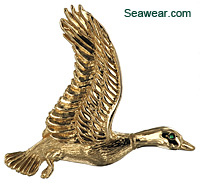 14kt highly  detailed flying mallard pendant