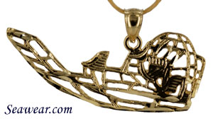 large 14kt gold diamond cut airboat pendant