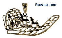 14k airboat jewelry necklace pendant