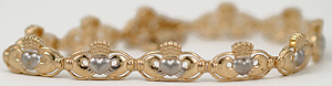 14kt two tone Claddagh bracelet