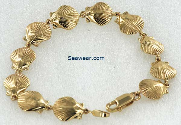 Scallop shell and Karen Hill Tribe shell clasp bracelet