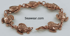 rose gold green sea turtle bracelet