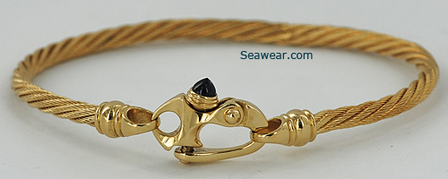 14kt gold 3mm Guy Beard TMI cable bracelet with mariner clasp