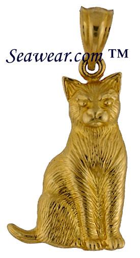 Cat jewelry 14kt yellow gold cat jewelry necklace pendant charm aloadofball Gallery