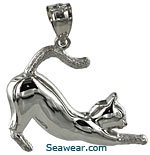 14kt white gold outstretched cat necklace jewelry pendant