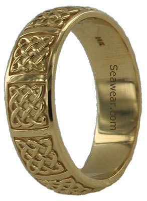 7mm Celtic knot wedding band in gold or platinum