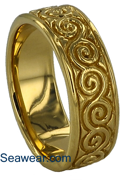Newgrange spiral wedding ring