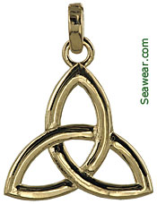 large gold trinity knot necklace pendant