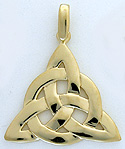 custom hand made 14k gold triquertra pendant